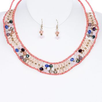 Peach Lucite Glass Bead Layered Bib Necklace And Earring Set