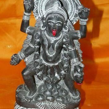 Supreme Maa Kali Statue Black Stone Sculpture India Hindu Goddess 8"