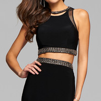 Short Black Two Piece Homecoming Dress by Faviana