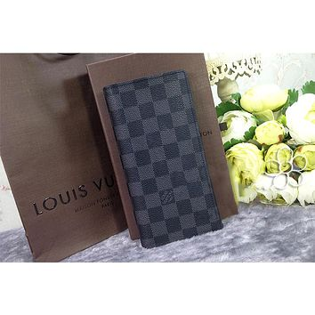 LV  Louis Vuitton Fashion Women Men Print Purse Wallet(4-Color) Black Check B
