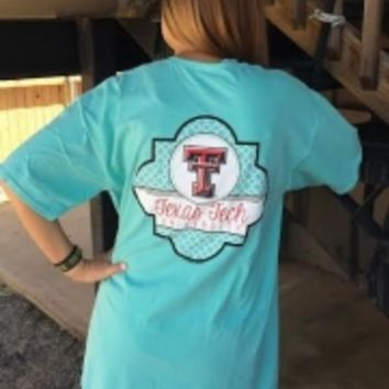 Texas Tech Quatrefoil Comfort Colors Pocket T-Shirt