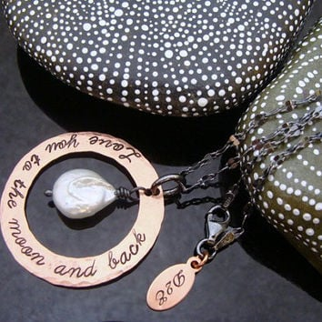 """D2E hammered hand stamped copper """"love you to the moon and back"""" freshater pearl necklace"""
