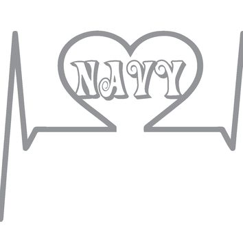 (2) Heartbeat Navy Vinyl Graphic Decal Sticker for Vehicle Car Truck SUV Window Wall Laptop Cooler Outdoor Rated Vinyl - Plus 1 Free Decal (see listing image for more information)