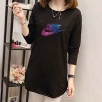 """Nike"" Women Casual Fashion Galaxy Letter Print Long Sleeve T-shirt Irregular Middle Long Section Bottoming Tops"