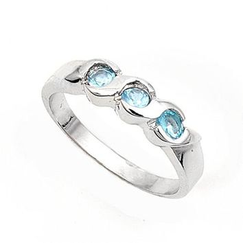 Sterling Silver Three Stones Round Center CZ Aquamarine 4MM CZ Petite Rings