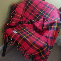 Faribo Fluff Loomed Wool Plaid Stadium Blanket Afghan Throw Faribault Woolen Mill Co.