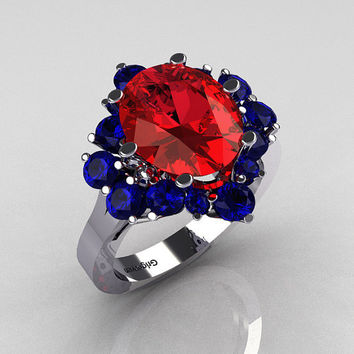 Classic 10K White Gold 4.0 Carat Oval Red Garnet and 1.0 Carat Round  Blue Sapphire Cluster Engagement Ring R87-10KWGBSRG