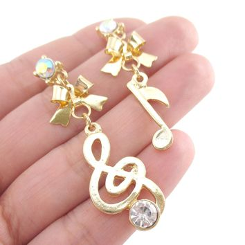 Treble Clef and Quaver Note Shaped Music Themed Drop Stud Earrings in Gold