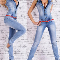 Fashion  Casual Buttons Lapel Sleeveless Denim Romper Jumpsuit Pants Trousers