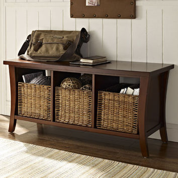 Wallis Wood Entryway Storage Bench with Wicker Storage Baskets