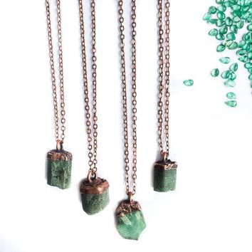 Raw Natural Emerald Crystal Necklace and Pendant
