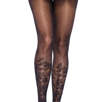 Sheer Dot and Floral Print Pantyhose