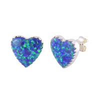Opal Stud Heart Earrings Iridescent Navy Blue Green 11mm USA