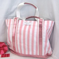 Victoria's Secret Large Pink Stripe Supermodel Canvas Tote Bag ~ Sold Out!