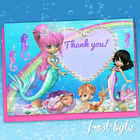 Mermaid Thank You Cards - printable file - mermaid party - Print at home