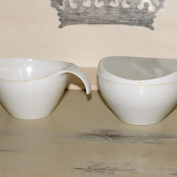 Vintage Melmac Sugar Cream White | Mid Century Modern Melmac Dinnerware #7408 #7410 White Sugar Creamer Set | Prolon Melmac 3 Pieces