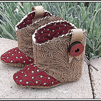 Unisex Baby Cowboy Boots Quilted Star Fabric Saddle Faux Leather Children's Booties