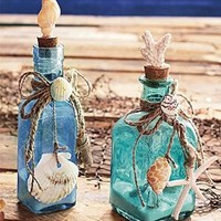 Set of 2 Glass Bottles with Shells