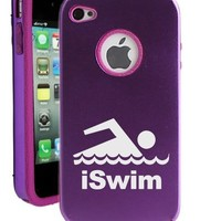 SudysAccessories Iswim Swimmer iPhone 4 Case iPhone 4S Case - MetalTouch Purple Aluminium Shell With Silicone Inner Protective Designer Case
