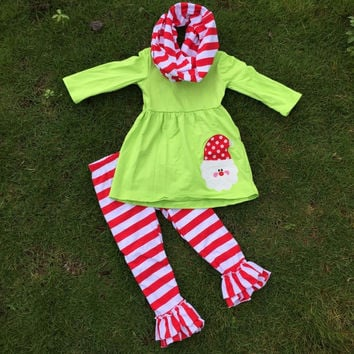 FALL OUTFITS girls Christmas pant sets 3 pieces scarf  sets kids Santa clothes kids green top sets persnickety girls