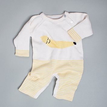 Organic Cotton Baby Romper - Long Sleeve and Leg Onesuit - Banana Graphic