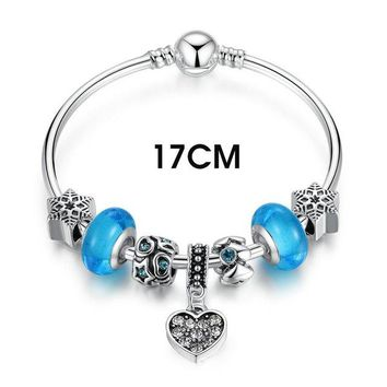 Authentic Silver Color Blue Murano Glass Beads Heart Pendant Charm Bracelets & Bangles Fashion Jewelry PA3808
