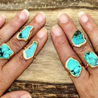 Raw Stone Ring, Turquoise, Gold, Gift For Her, Girlfriend, Raw Turquoise Ring, Stacking Ring, Turquoise Ring, Turquoise Jewelry, Boho Ring.