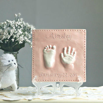 Ceramic Hand & Footprint Wall Decor - Custom Baby and Child Keepsake - Hand Print Art - Hand Print Gift - Nursery Wall Hanging