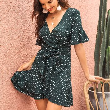 Ruffle Hem Knot Front Flounce Dot Tea Dress