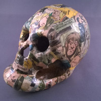 Horror comic decoupage skull