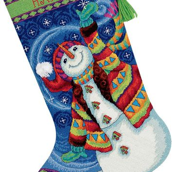 """16"""" Long Stitched In Wool & Thread Happy Snowman Stocking Needlepoint Kit"""