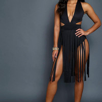 Fringed BodyCon Dress Black
