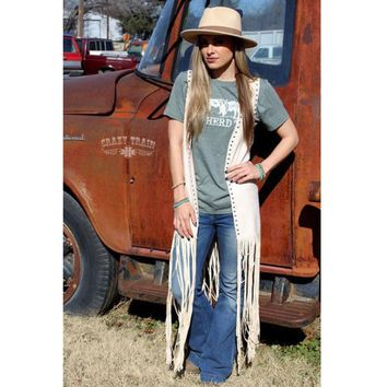 Paris Palomino Cream Studded Duster Fringe Vest by Crazy Train
