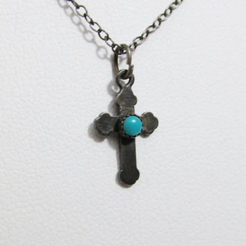 Vintage Necklace: Sterling Cross with Turquoise Cabochon