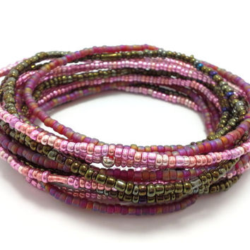 Seed bead wrap stretch bracelets, stacking, beaded, boho anklet, bohemian, stretchy stackable multi strand, pink red rainbow brown iris