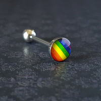 Gay Pride Tongue Ring (14G)