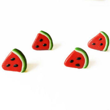 Watermelon Push Pins - Drawing Pins - Polymer Clay -  Decorative Push Pins - Decorative Thumbtack - Wall Tacks - Kawaii - Fruit Push Pins