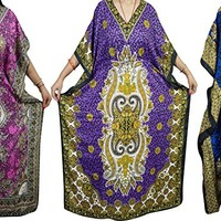 Mogul Wholesale 3 Pcs Lot Womens Maxi Caftan Beach Cover Up Kaftan Evening Dress