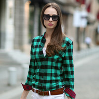 British Style Pure Cotton Long Sleeve Plaid Shirt