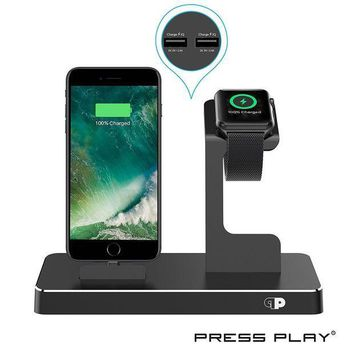 ICIK4S2 ONE Dock (APPLE CERTIFIED) Power Station Dock, Stand & Built-In Lightning Charger for Apple Watch Smart Watch (Series 1,2,3, Nike+), iPhone X/10/8/8 Plus/7/7Plus/6s/6s, iPad & iPod (Aluminum) ¨C Black