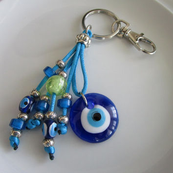 Blue evil eye charm keychain beaded evil eyes tassel, evil eye purse charm, rear view mirror car charm, evil eye car charm, purse tassel eye