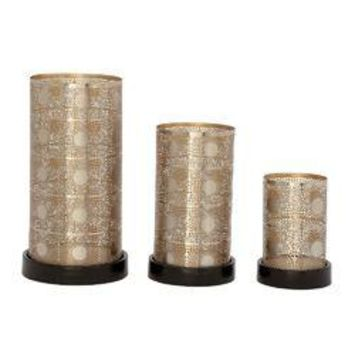 Trendy Metal Candle Holder Silver Set Of 3