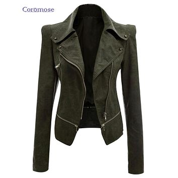 Coromose Leather Jacket Spring Women's Outerwear Jacket Coat Ladies Leather Clothing Female Motorcycle Leather Jacket