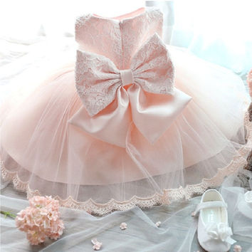 Baby Girls Kids Princess Wedding Formal Party Tutu Bow Flower Lace Full Dress = 1932564612