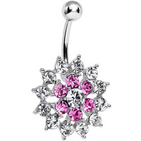 Pink Clear Cubic Zirconia Beauteous Blooming Flower Belly Ring | Body Candy Body Jewelry
