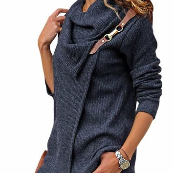 Navy Ribbed Knit Wrap-over Cowl Neck Sweater
