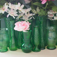 Instant Collection 14 Vintage Green Glass Vases for Weddings and Baby Showers