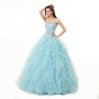 Engerla® Women's Beading Sweetheart Ball Gown Tulle Layed Long Quinceanera Dress