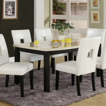 Home Elegance 3270-60-S1W 7 pc archstone ii collection black finish wood and faux marble top dining table set with white upholstered seats