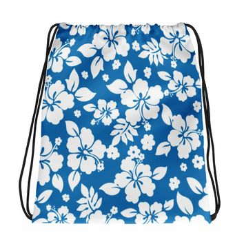 Hawaiian Tropical Hibiscus Blue and White Pattern Drawstring bag